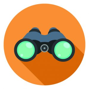 clipart of binoculars in orange circle