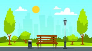 clipart of park scene in front of cityscape