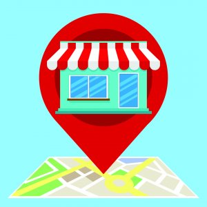 map with location pin and store front clipart
