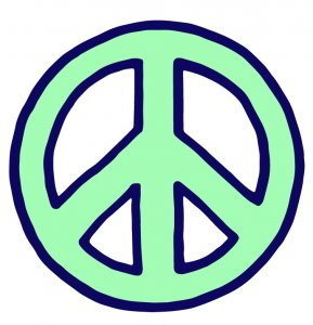 bright green peace sign