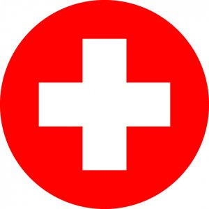 Medic symbol; red circle with white cross in the middle