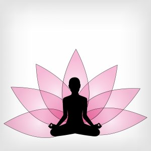 clipart of a lotus flower and person meditating