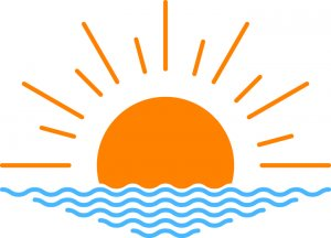 clipart of a sun rising over water