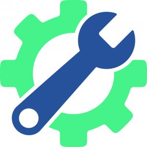 lime green gear with blue wrench clipart